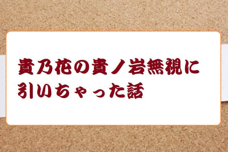 01.貴乃花の貴ノ岩無視に引いちゃった話